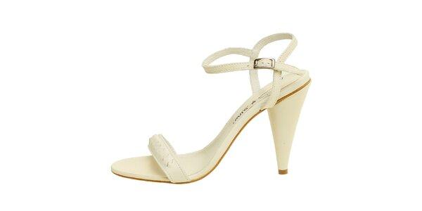 Dámske krémovo biele kožené sandálky Levis