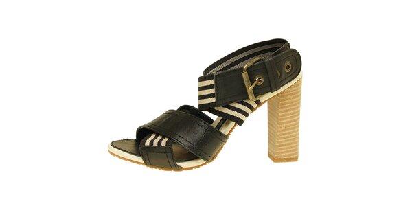 Dámske čierno-béžové sandálky na vysokom podpätku Levis