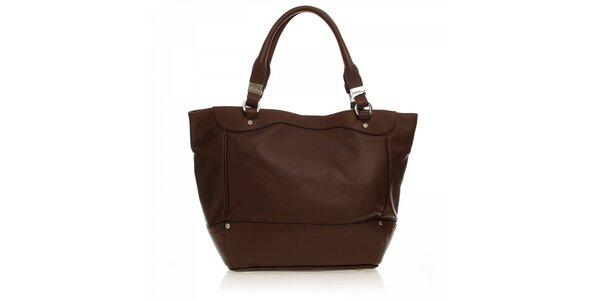 Hnedá kožená kabelka Ferré