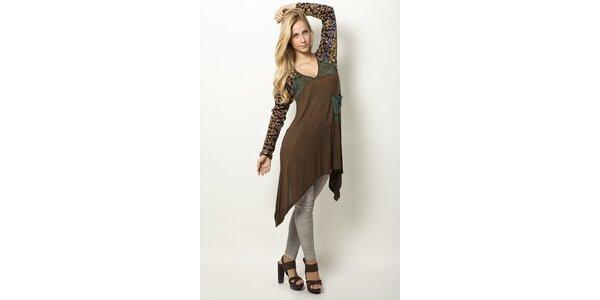 Hnedé šaty s leopardím vzorom Mahal