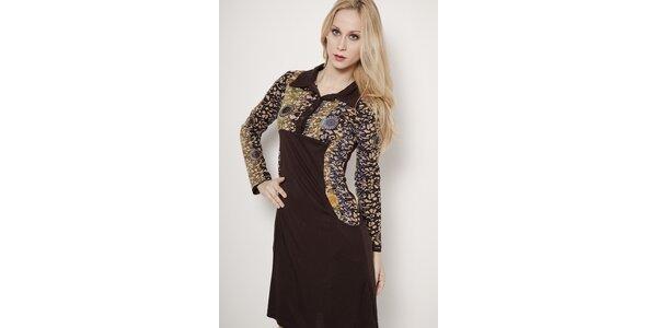 Hnedé šaty s límčekom Mahal