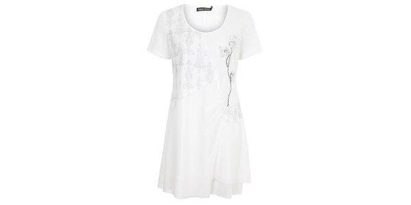 Dámske biele šaty s ozdobami Sugar Crisp