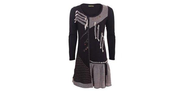 Dámske čierne šaty s aplikáciami Sugar Crisp