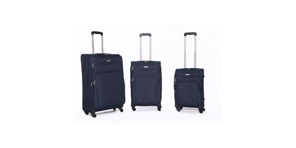 Set 3 rôzne veľkých cestovných kufrov v modrej farbe Ravizzoni