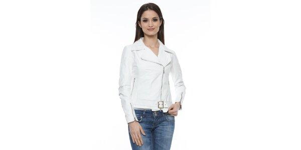 Dámska biela kožená bunda s prackou Mangotti