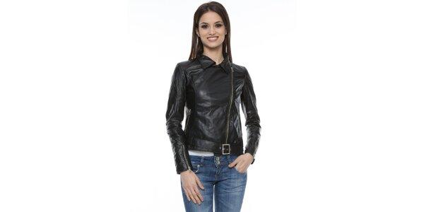 Dámska čierna kožená bunda s prackou Mangotti
