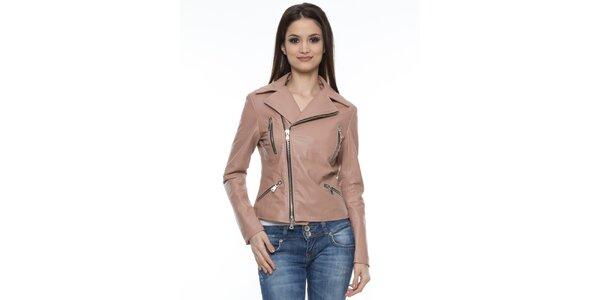 Dámska béžová bunda so zipsami Mangotti