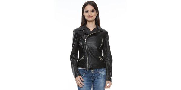 Dámska čierna bunda so zipsami Mangotti