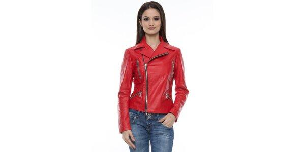 Dámska červená bunda so zipsami Mangotti