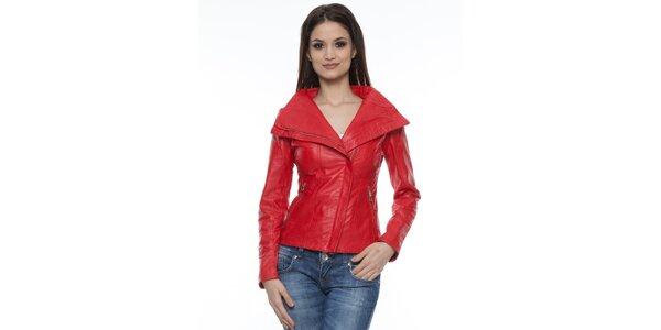 Dámska červená kožená bundička s golierom Mangotti