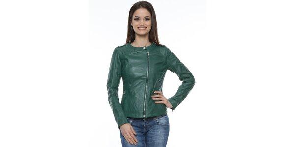 Dámska tmavo zelená kožená bunda Mangotti