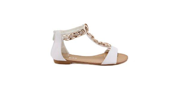 Dámske biele sandále so zlatou ozdobou Bless