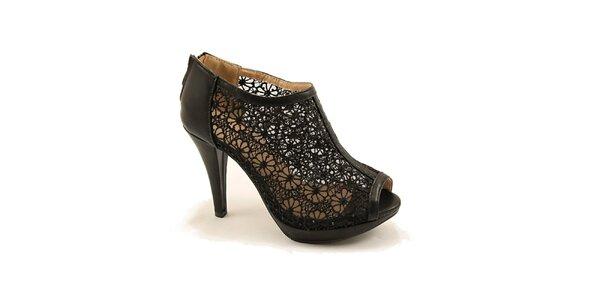 Dámske čierne topánky s čipkou Bless