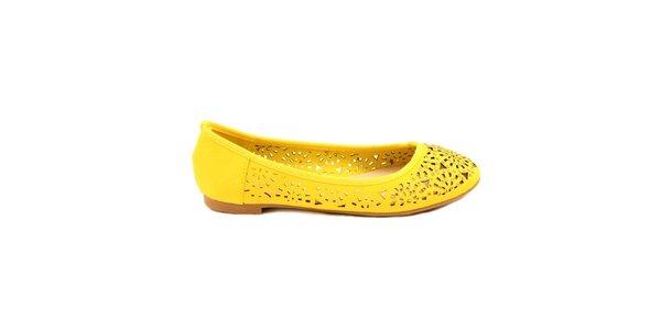 Dámske žlté perforované balerínky Bless