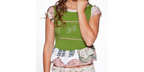 Dámske zelené tričko s volánmi Ian Mosh