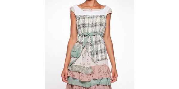 Dámske farebné vrstvené šaty s mašľou Ian Mosh