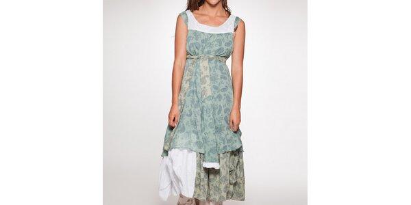 Dámske dlhé zelené šaty s mašľou v páse Ian Mosh