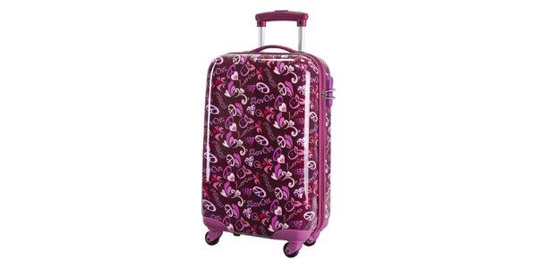 Dámský fialovo-ružový vzorovaný kufor na koliečkach Movom