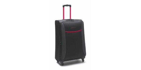 Čierno-ružový veľký kufor na koliečkach Esprit