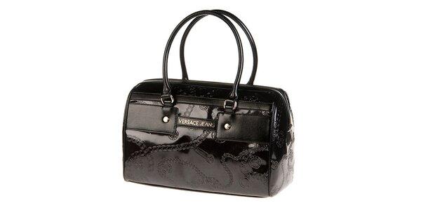 Dámska čierna kabelka s reliéfnym vzorom Versace Jeans