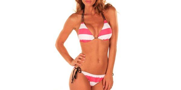 Dámske bielo-ružové plavky Bikiniki