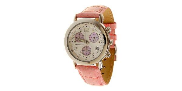 Dámske ružové hodinky Marc O´Polo s koženým remienkom