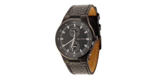 Čierne oceľové hodinky Marc O´Polo s koženým remienkom