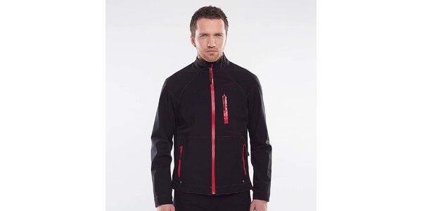 Pánska čierna bunda s červenými detailmi Blažek