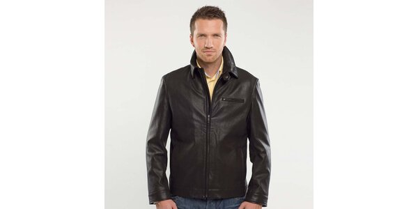 Pánska čierna kožená bunda Blažek
