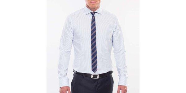 Pánska modro prúžkovaná slim fit košeľa Blažek