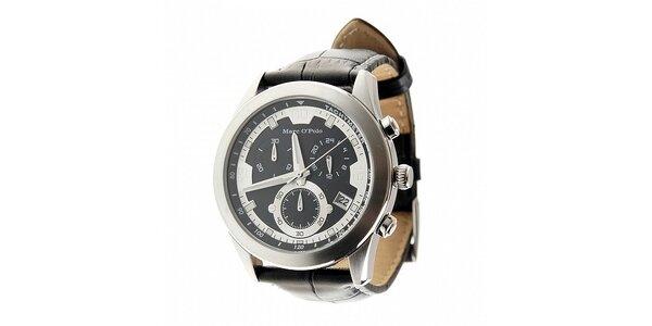 Stylové oceľové hodinky Marc O´Polo s čiernym koženým remienkom