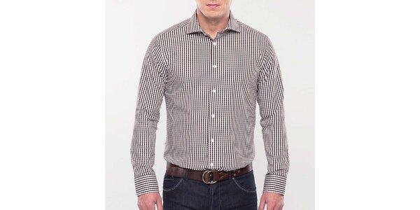 Pánska hnedo kockovaná slim fit košeľa Blažek
