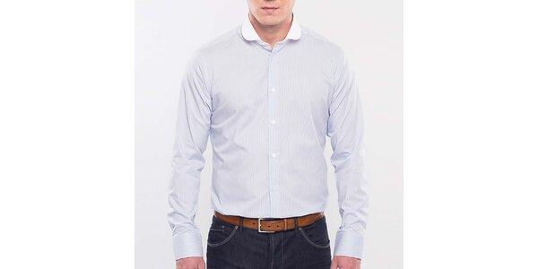 Pánska svetlo modrá prúžkovaná košeľa Blažek