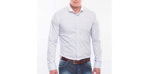 Pánska modrá košeľa s bielym prúžkom Blažek