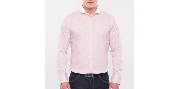 Pánska ružová prúžkovaná košeľa Blažek
