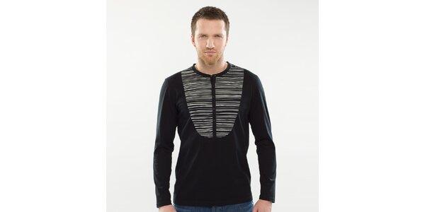 Pánske čierne tričko s pruhovanou vsadkou Blažek