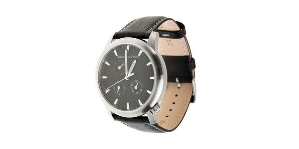 Marc O´Polo hodinky s čiernym koženým remienkom a čiernym ciferníkom