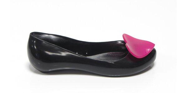 Dámske čierne baleríny Favolla s ružovým srdcom