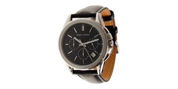 Pánske oceľové hodinky Marc O´Polo s čiernym koženým remienkom