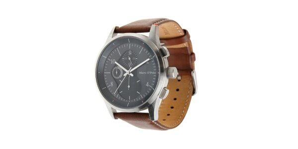 Pánske hodinky Marc O´Polo s hnedým koženým remienkom