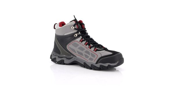 Unisex šedé trekové topánky s červenými detaily Kimberfeel