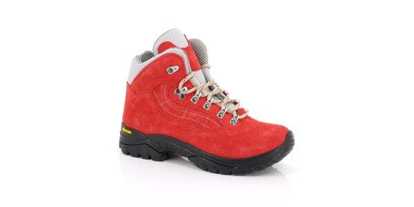 Dámske červené trekové členkové topánky Kimberfeel