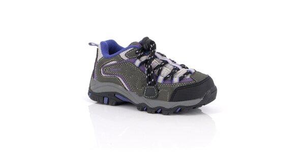 Dámske šedé trekové topánky s fialovými prvkami Kimberfeel