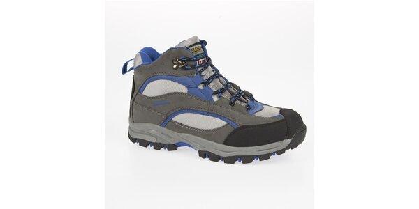 Unisex modro-šedé trekové členkové topánky Kimberfeel