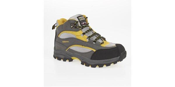Unisex šedo-žluté trekové členkové topánky Kimberfeel