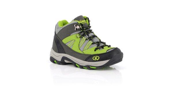 Dámske šedo-zelené trekové členkové topánky Kimberfeel