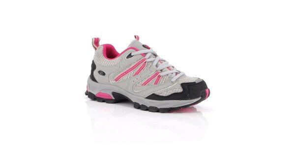 Šedé nízke outdoorové topánky Kimberfeel s farebnými detailmi
