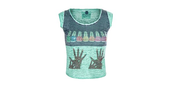 Dámske zelené tričko s farebným obrázkom Me Da Igual