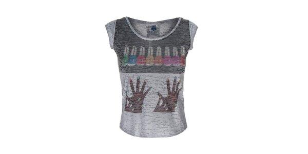 Dámske šedé tričko s farebným obrázkom Me Da Igual
