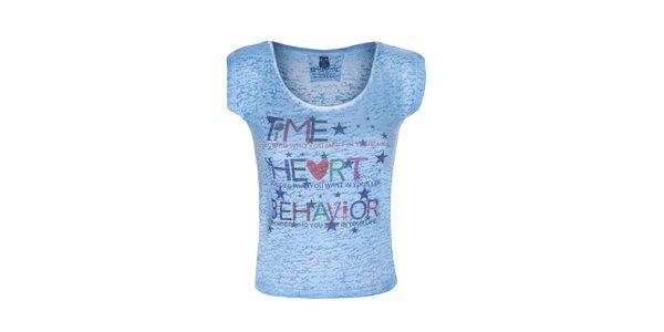 Dámske modré tričko s farebným nápisom Me Da Igual